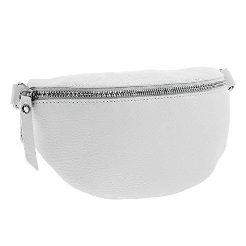 IO.IO.MIO echt Leder Bauchtasche Damen Hüfttasche Gürteltasche Crossbody Bag Frauen Ledertasche (Weiss)