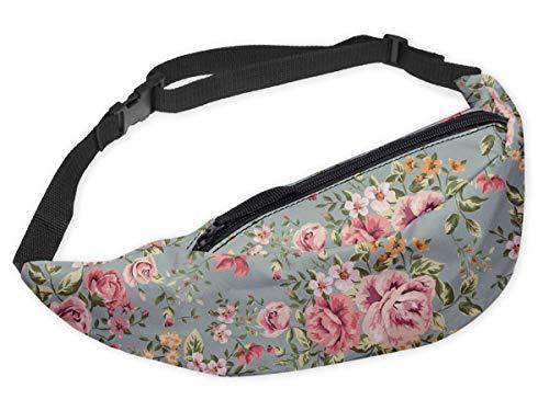 Modische Gürteltasche Sporttasche Bauchtasche mit Reissverschluss Blumen Minze [021]