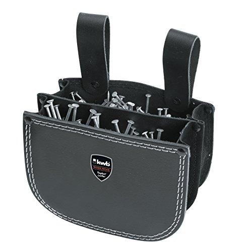kwb Nageltasche aus Leder mit zwei Fächern und Gürtelschlaufe zum Einhängen in Schwarz