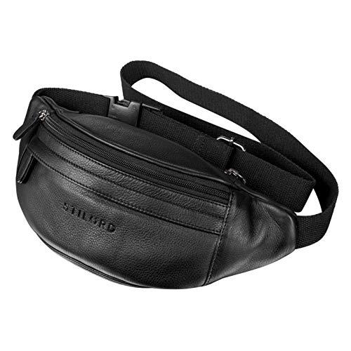 STILORD 'Terry' Bauch Tasche Leder Vintage Hüfttasche für Herren Damen Belt Bag für Jogging Festival Urlaub Handy Gürteltasche Umschnalltasche Echtleder, Farbe:schwarz