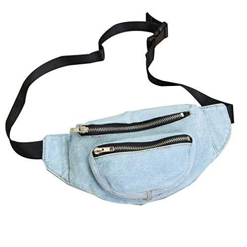 Tendycoco Gürteltasche aus Jeans, modisch, Retro, lässig, Wandern, Laufen, Reisen, Sport, Wasit, Geldbörse (hellblau)