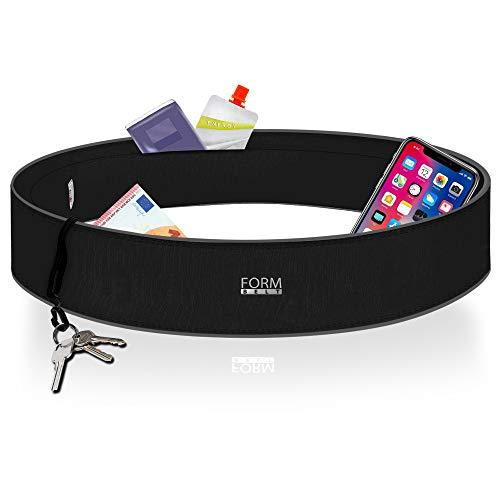 Formbelt Laufgürtel für Handy Smartphone iPhone 8 X XS Max XR 6-s 7+ Plus Samsung Galaxy S7 S8 S9 S10 + Hüfttasche für Running Sport Fitness Bauchtasche Laufen (schwarz, L)