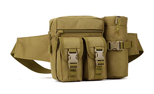 Yakmoo Hüfttasche Taktischer Militärstil Bauchtasche wasserdichte Molle System Gürteltasche mit Wasserflaschehalter für Outdoors