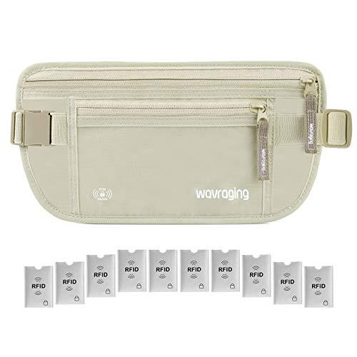 Flache Bauchtasche Damen Herren Hüfttasche mit RFID Blocker Sicherheitstasche für Reisen und Joggen Reisebrieftasche Gib 10 RFID-Karten enganliegend und wasserabweisend