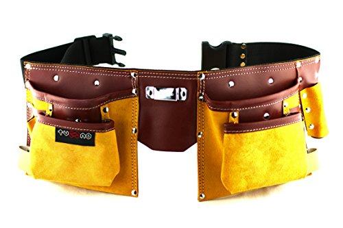 Werkzeuggürtel aus Leder mit 11 Taschen zum Tragen von Werkzeugen, verstellbarer Nylongürtel, Handwerker, Tischler