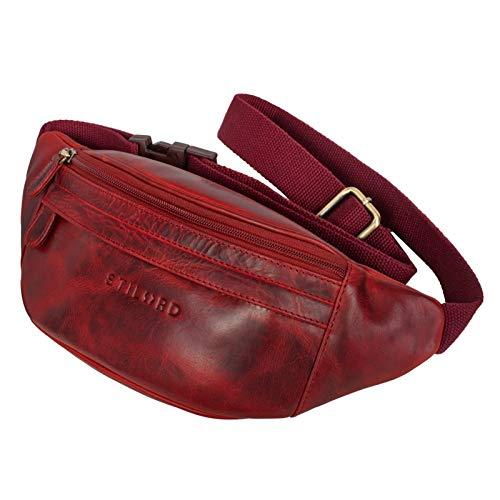 STILORD 'Terry' Bauch Tasche Leder Vintage Hüfttasche für Herren Damen Belt Bag für Jogging Festival Urlaub Handy Gürteltasche Umschnalltasche Echtleder, Farbe:Kara - rot