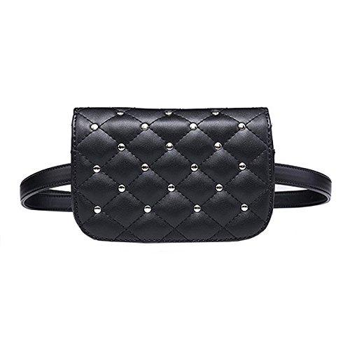 Milya Damen Modische Hüfttasche Taillenbeutel Bauchtasche aus PU Leder mit Verstellbaren Riemen, Schwarz Gitterartig Niete