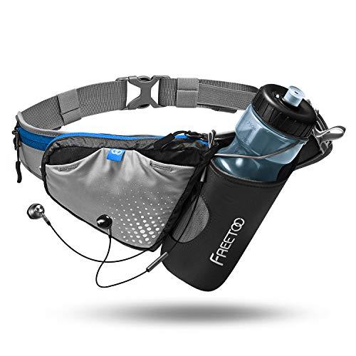 FREETOO Trinkgürtel Laufgürtel Gürteltasche mit Stabile Flaschenhalter und Persöliche Kapazität Design Verstellbar Hüfttasche für Jogging Wandern Camping Radfahren Spazieren