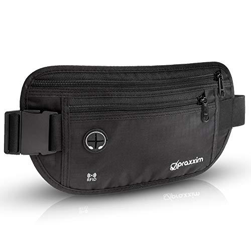praxxim Bauchtasche für Damen und Herren - EXTRA FLACH - Hüfttasche für Handys bis 7 Zoll - Gürteltasche ideal zum Sport, Reisen und als Lauftasche für Jogging - Bauchtasche schwarz, stylisch