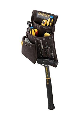 Stanley STST1-80114 Hammer- und Nageltasche aus Büffelleder, Braun/Gelb