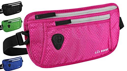 SAO ROQUE Flache Bauchtasche Hüfttasche mit RFID Blocker I enganliegend wasserfest I Damen Mädchen Gürteltasche Taillensafe Pink