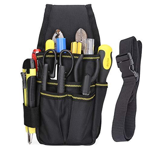 BAIGIO Werkzeugtasche Werkzeug-Gürteltasche Mini Werkzeuggürtel für Werkzeug und Zubehör (Schwarz)