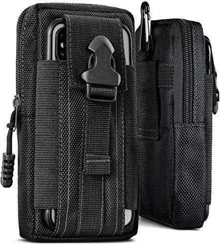 ONEFLOW Survival Case für alle Google Pixel - Gürteltasche aus Nylon, Handytasche mit Karabiner, Handy Gürtel Tasche Outdoor Handyhülle, Schwarz