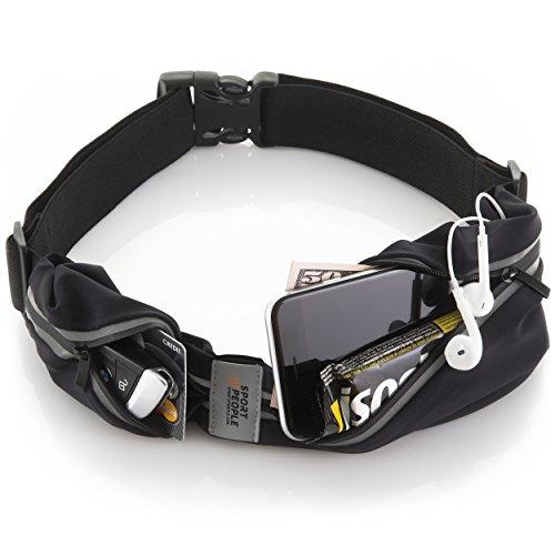 Sport2People Running Belt - Laufen Gürteltasche für Herren und Damen - Laufgürtel Bauchtasche für iPhone 6 7 Plus. Sport Hüfttasche Hände Frei Jogging, Laufen - Reflektierend Läufer Gürtel