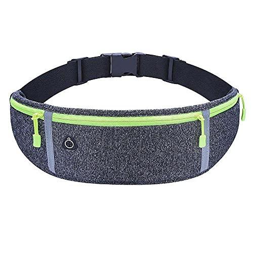 Laufgürtel für Handy, wasserdichte und verstellbare Lauftasche mit Reißverschluss, Hüfttasche für Joggen, Fitness, Radfahren, Reisen und Outdoor-Aktivitäten (Grau)