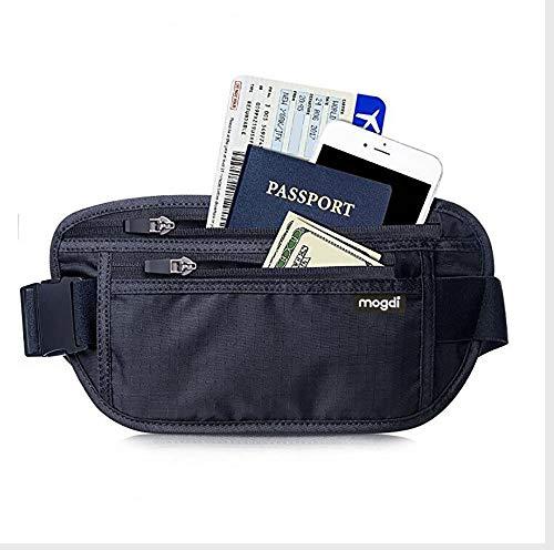 mogdi Profi RFID Blocker geschützte Bauchtasche Flache Gürteltasche für Damen u. Herren Brieftasche Reise Urlaubs- Etui Hüfttasche Wandertasche Gürtel Versteck Autoschlüssel Kreditkarten