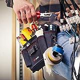 NoCry Heavy Duty Canvas Werkzeugtasche mit 7 geräumigen Taschen, 10 Werkzeugschlaufen, verstellbarem Hüftriemen und robustem Kletterverschluss zur Befestigung am Gürtel in schwarz